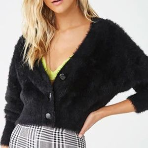 Forever 21 Fuzzy Button Front Cardigan